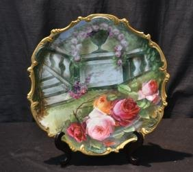 LARGE LRL LIMOGES HAND PAINTED CHARGER