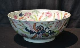 VERY LARGE CHINESE PORCELAIN TOBACCO LEAF BOWL