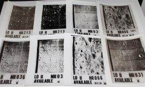 Eight Vintage Lunar Orbiter II NASA Glossy Photos
