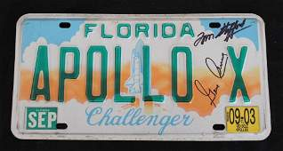 Stafford's Apollo X Signed Florida License Plate