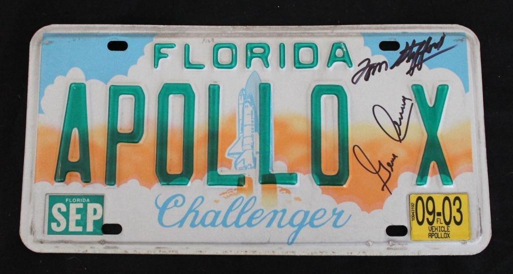 Stafford's Apollo X Signed Florida License Plate
