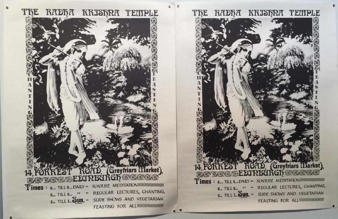 THE RADHA KRISNA TEMPLE POSTERS. Two original posters