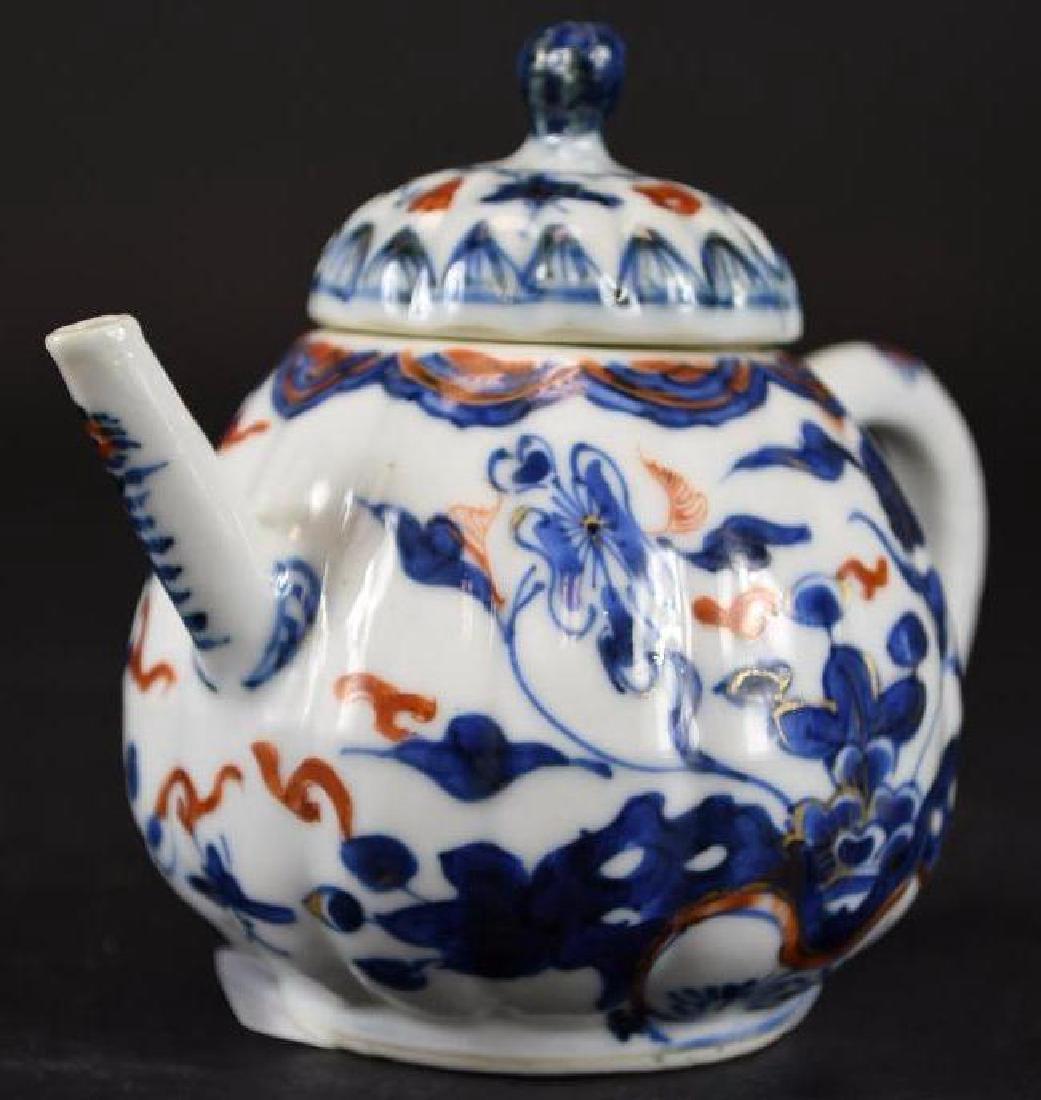 Chinese Imari Blue and White Porcelain Tea Pot