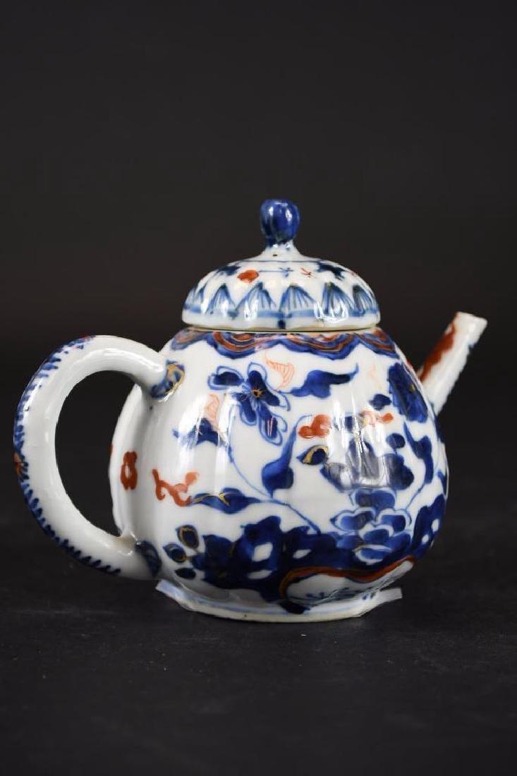 Chinese Imari Blue and White Porcelain Tea Pot - 3
