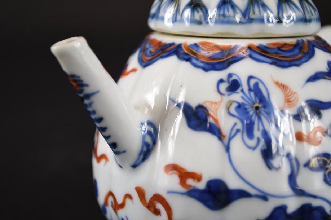 Chinese Imari Blue and White Porcelain Tea Pot - 8