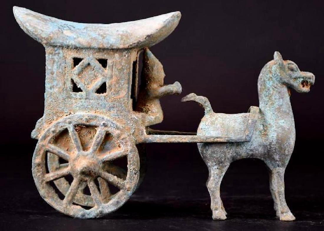 Chinese Bronze Horse & Carriage