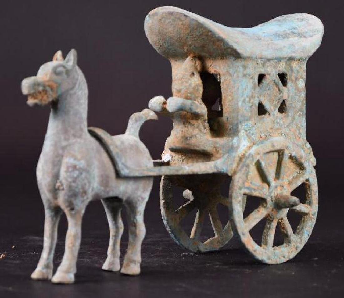 Chinese Bronze Horse & Carriage - 4