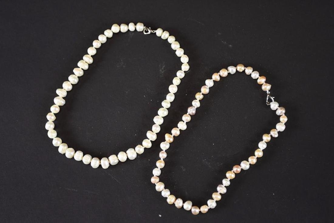 Two Strands of White Pearl Necklaces