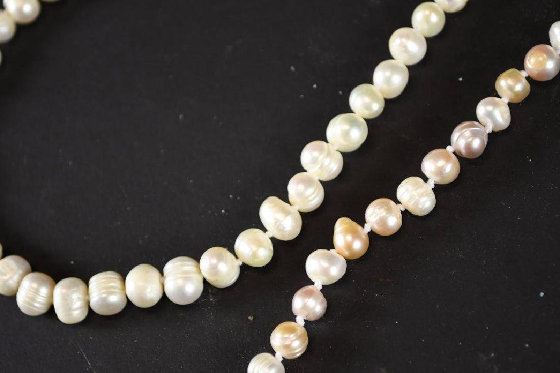 Two Strands of White Pearl Necklaces - 8