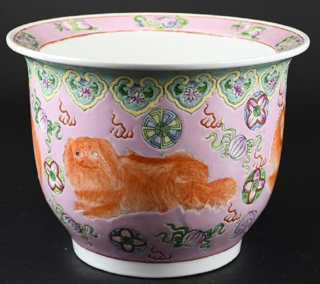 Chinese Foo Dog Porcelain Planter
