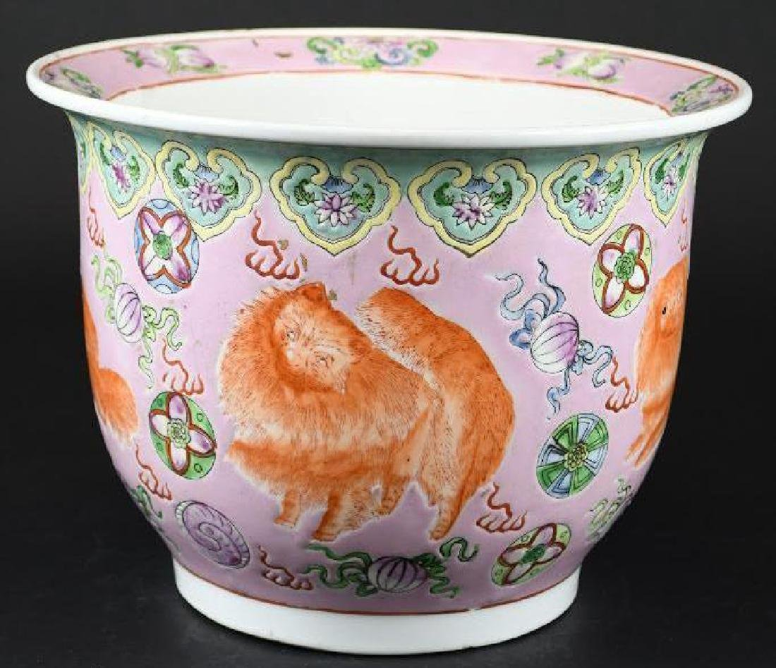 Chinese Foo Dog Porcelain Planter - 2