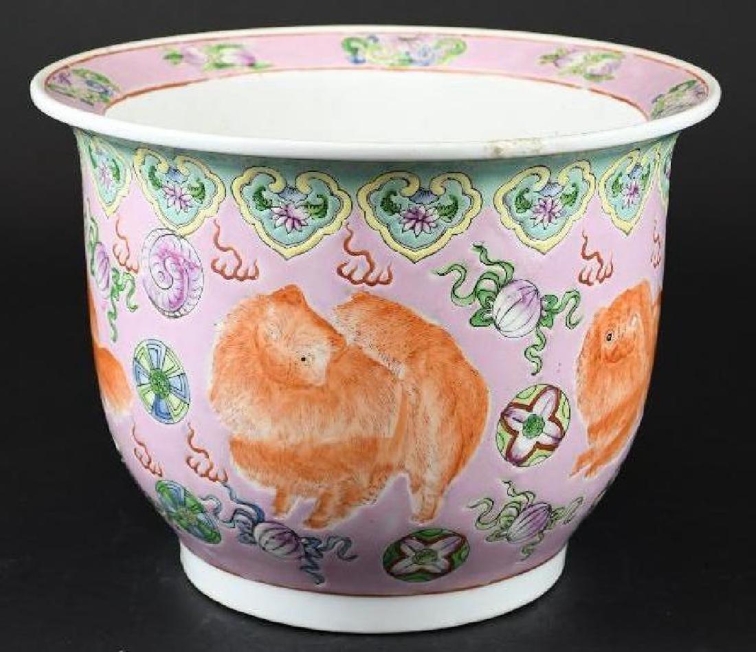 Chinese Foo Dog Porcelain Planter - 4
