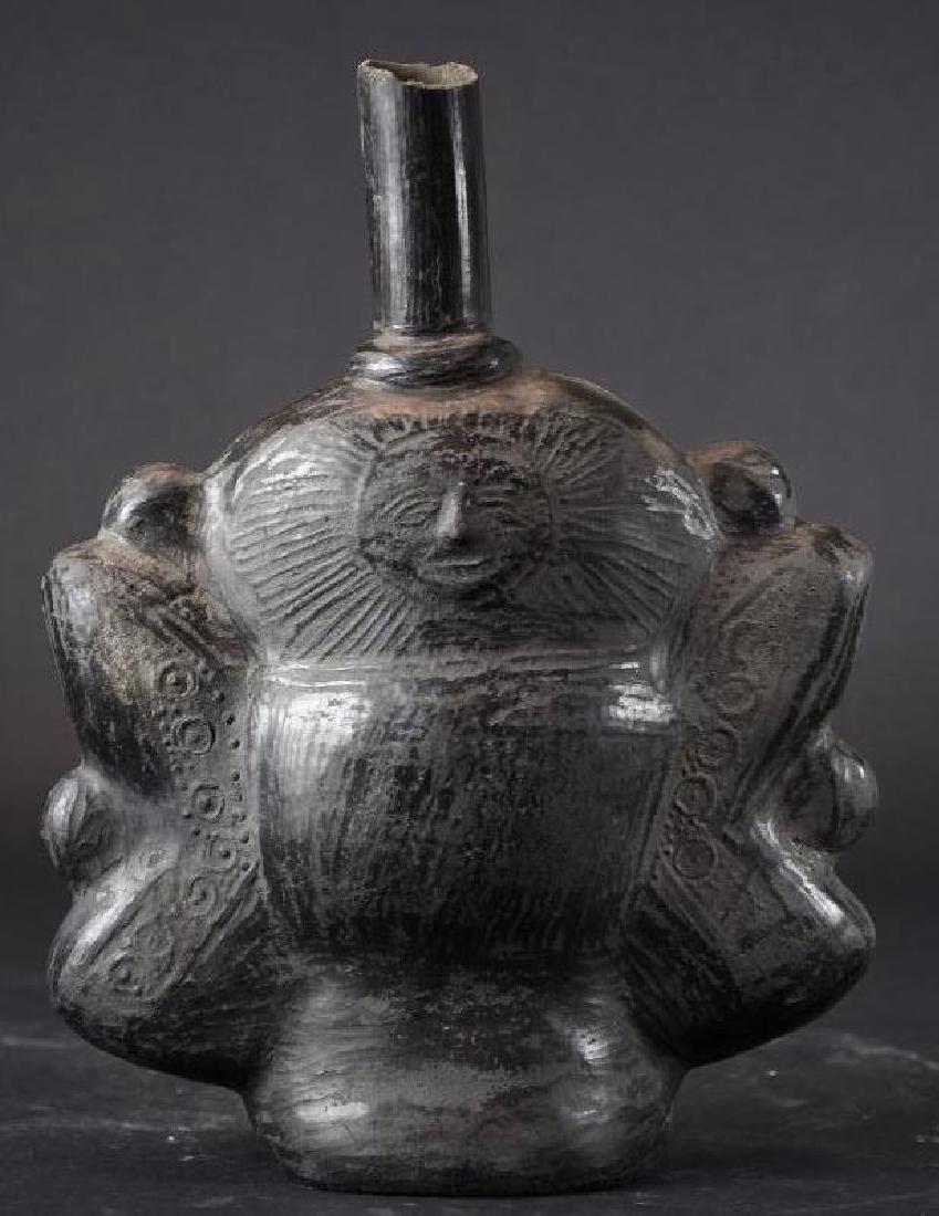 Pre colombian Black Pottery Vase - 3