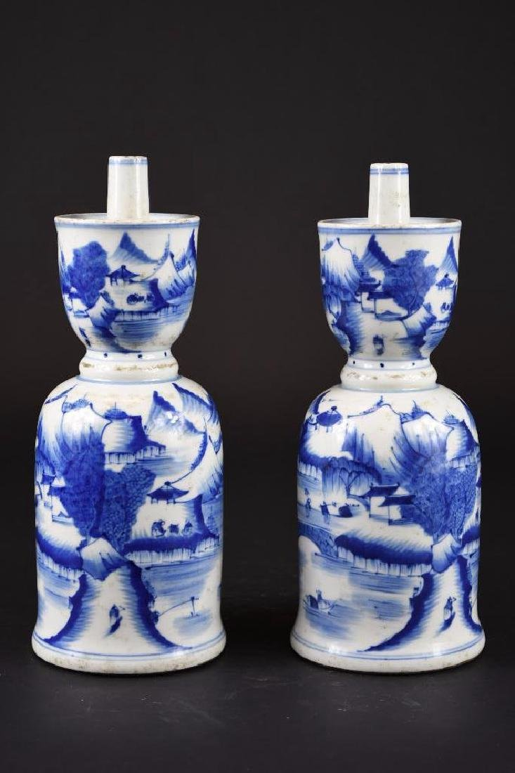 Pair of Chinese Blue & White Porcelain Candle Holders - 10