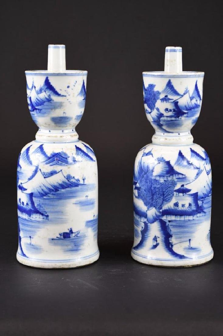 Pair of Chinese Blue & White Porcelain Candle Holders - 2