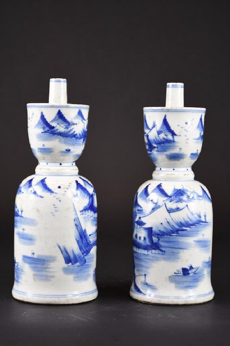 Pair of Chinese Blue & White Porcelain Candle Holders - 3