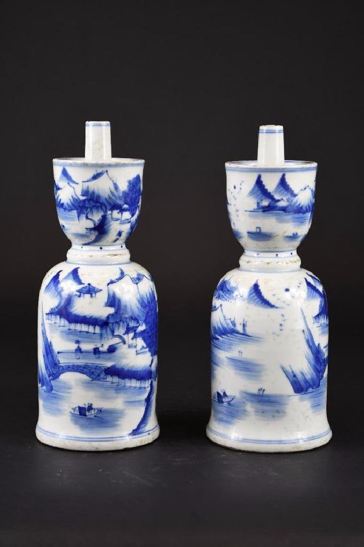 Pair of Chinese Blue & White Porcelain Candle Holders - 4