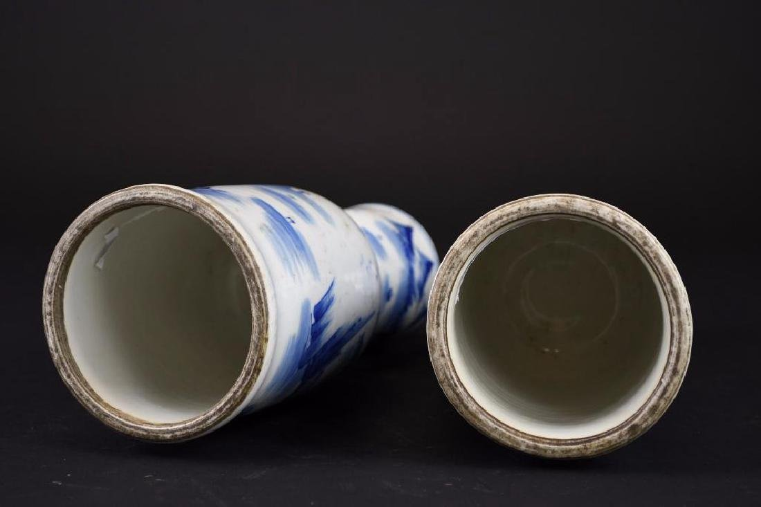 Pair of Chinese Blue & White Porcelain Candle Holders - 6