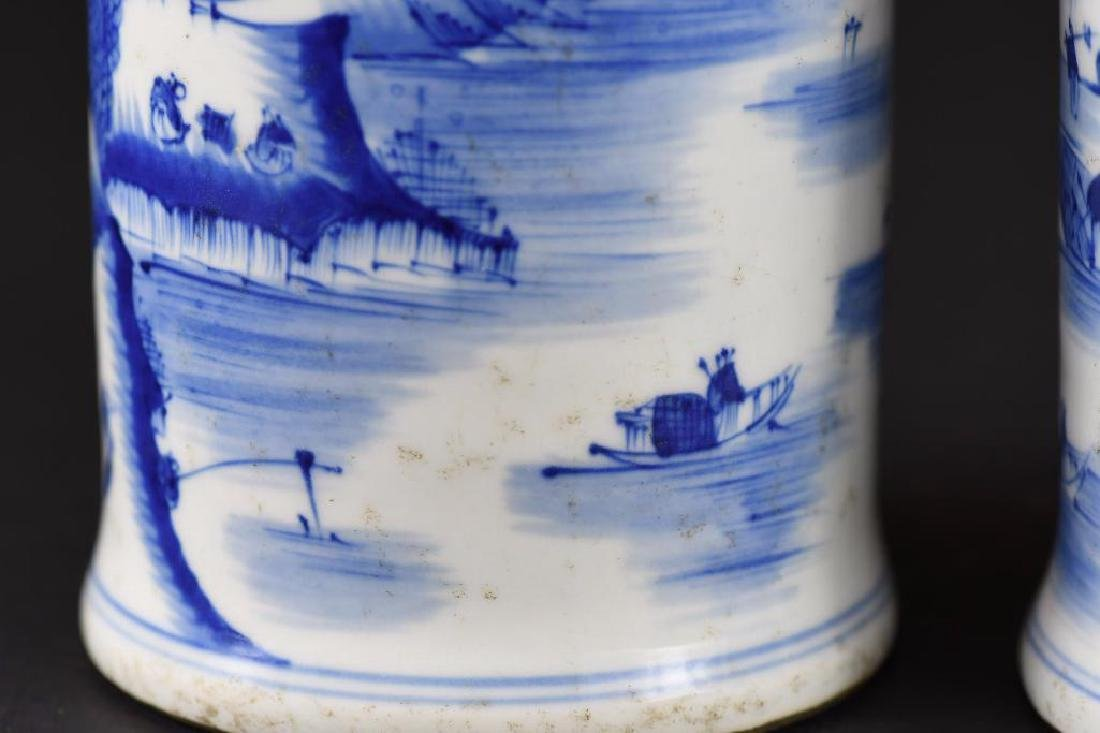 Pair of Chinese Blue & White Porcelain Candle Holders - 9