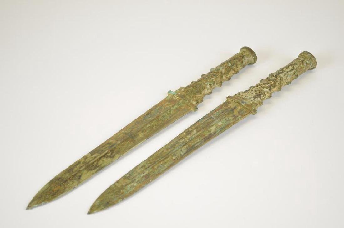 Two Bronze Archaic Style Daggers