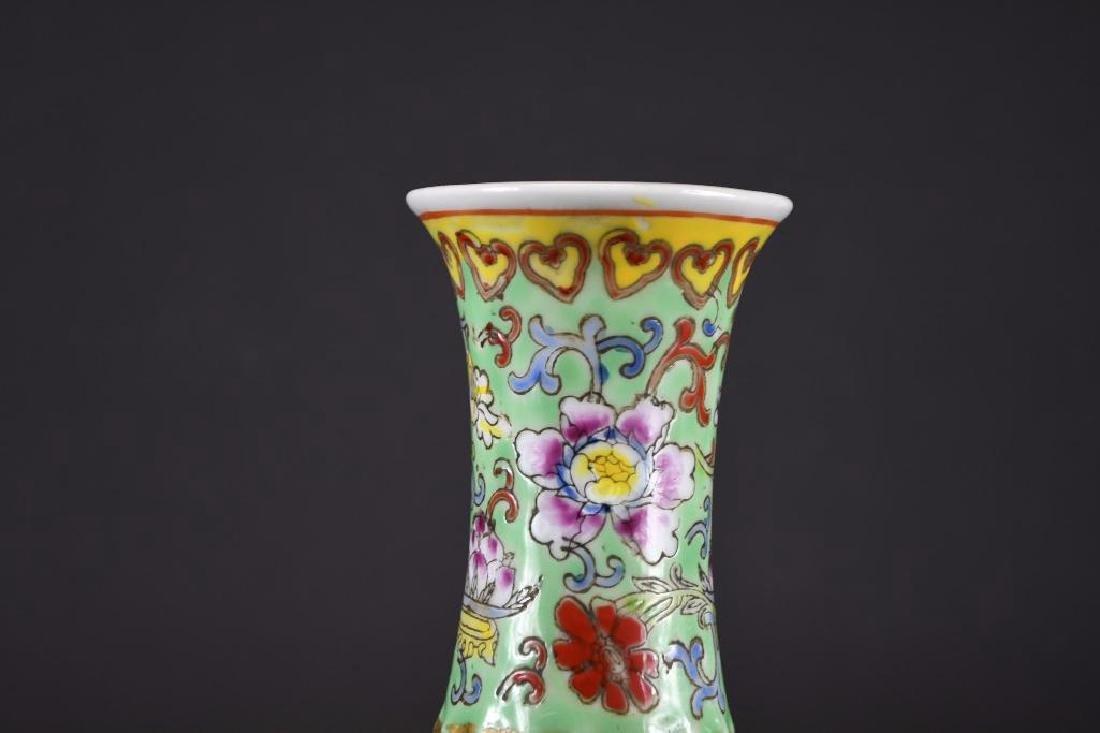 Chinese Famille Verte Porcelain Vase - 7