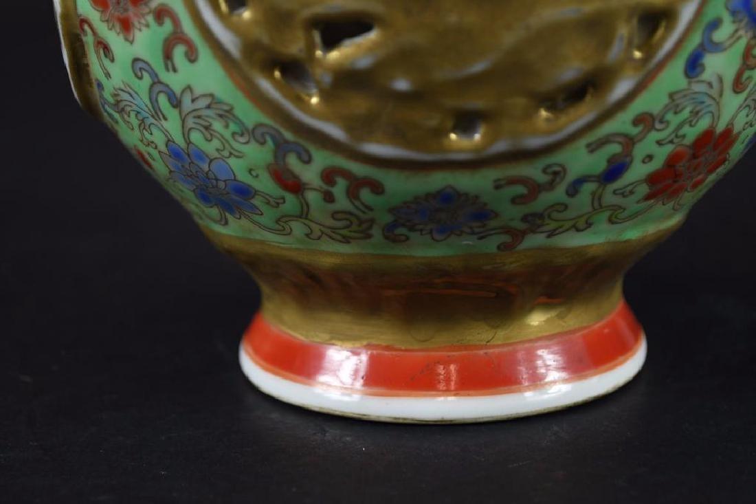 Chinese Famille Verte Porcelain Vase - 9