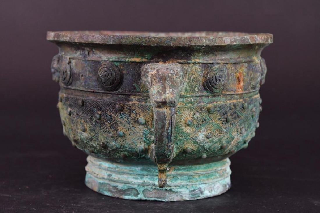 Chinese Bronze Footed Censer - 4