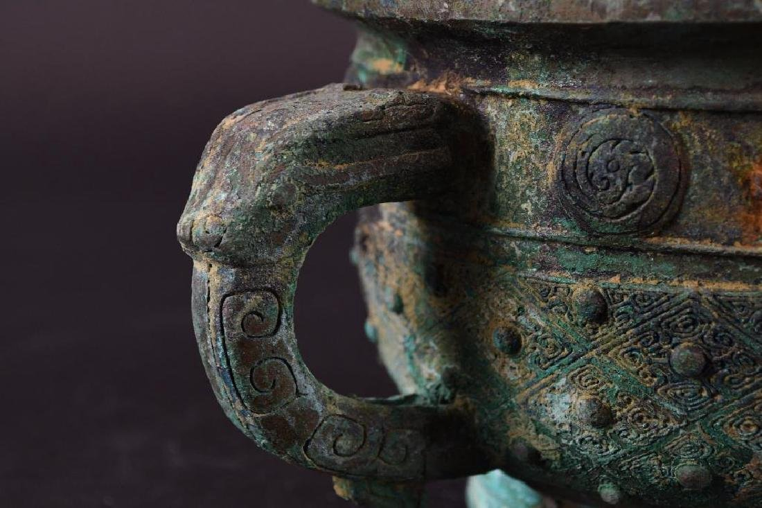 Chinese Bronze Footed Censer - 7