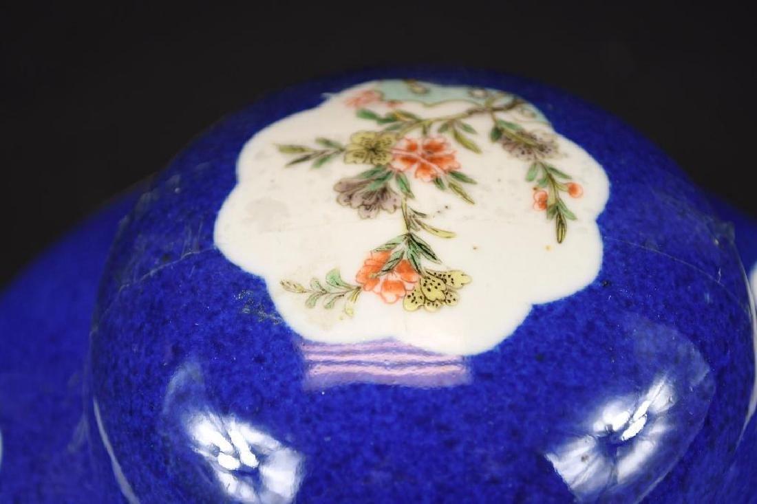Chinese Cobalt Blue Glaze Porcelain Lidded Jar - 7