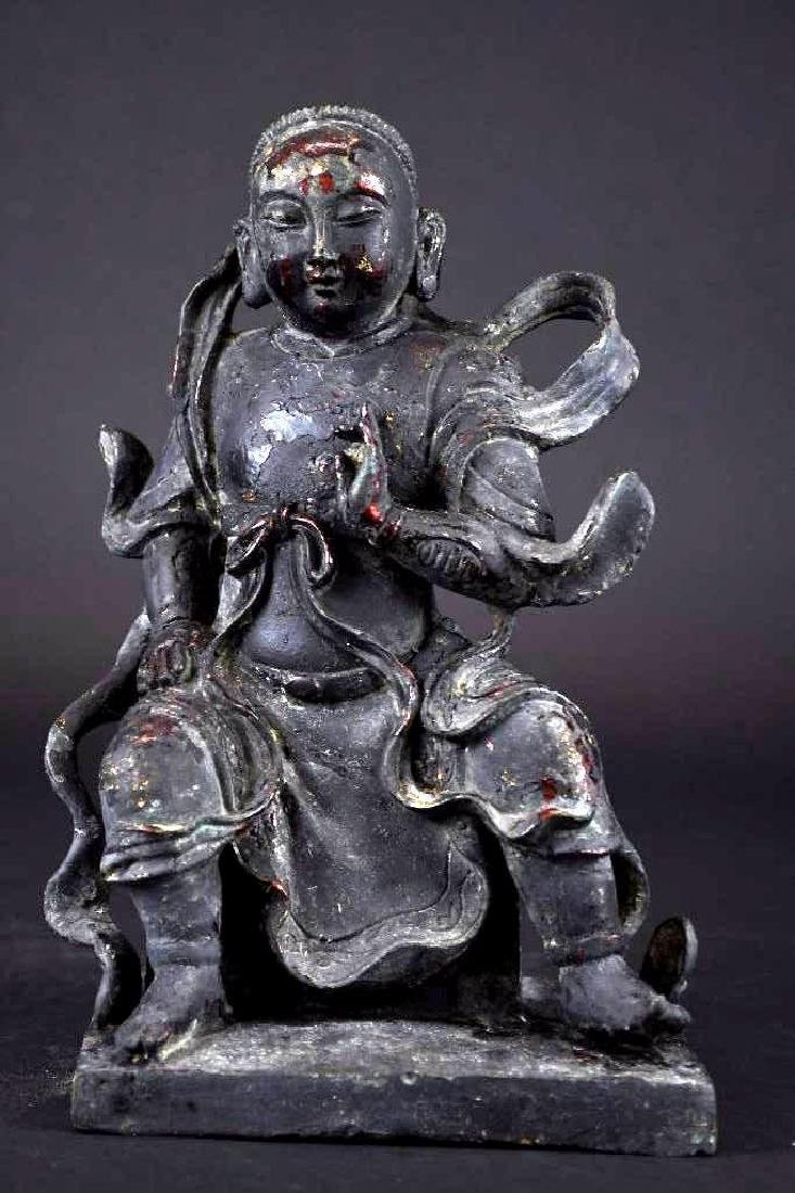Chinese Lacquered Bronze Warrior Statue