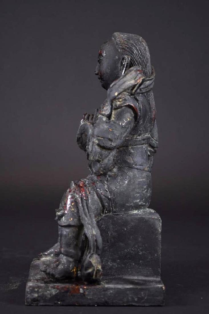 Chinese Lacquered Bronze Warrior Statue - 2