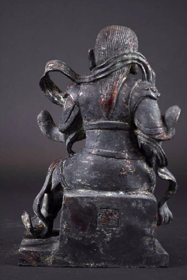 Chinese Lacquered Bronze Warrior Statue - 3