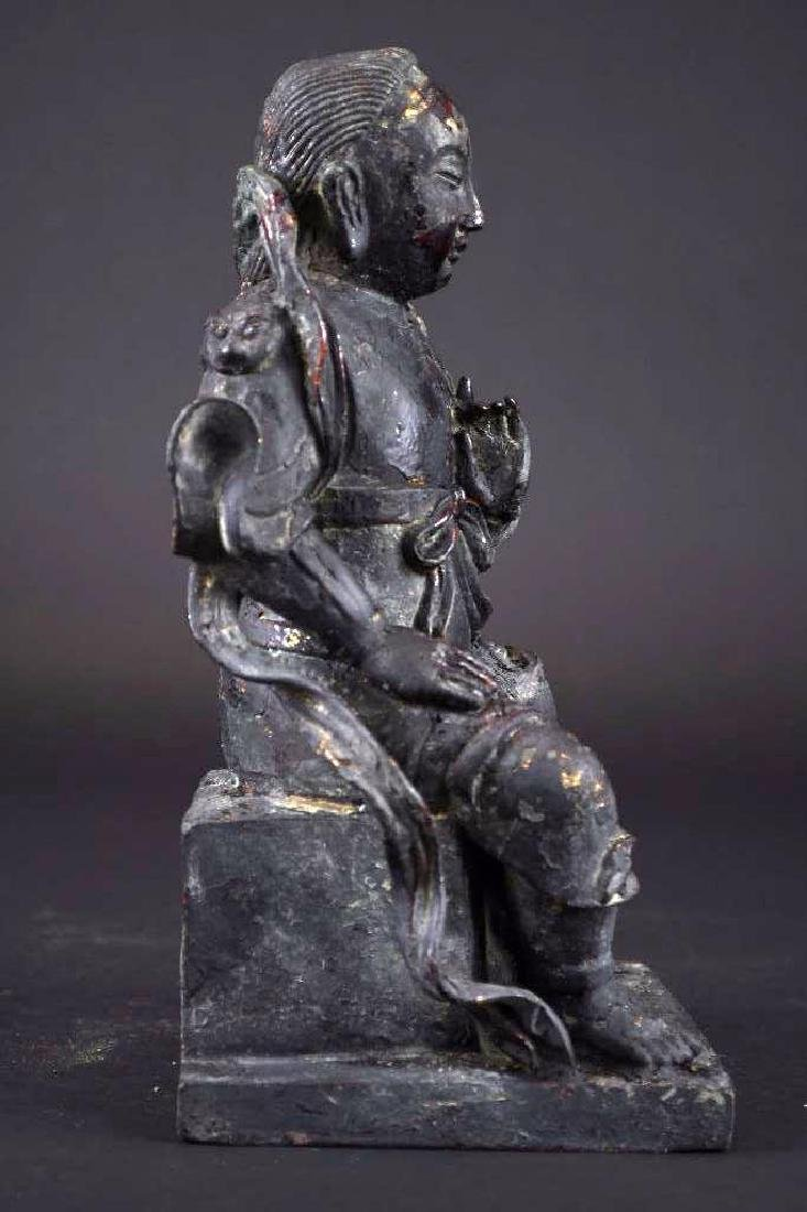 Chinese Lacquered Bronze Warrior Statue - 4