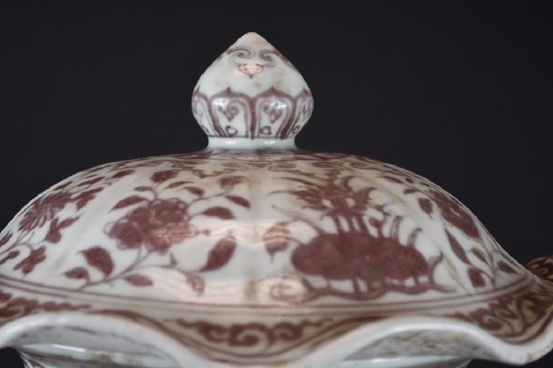 Antique Chinese Under Glaze Red Porcelain Lidded Vase - 7