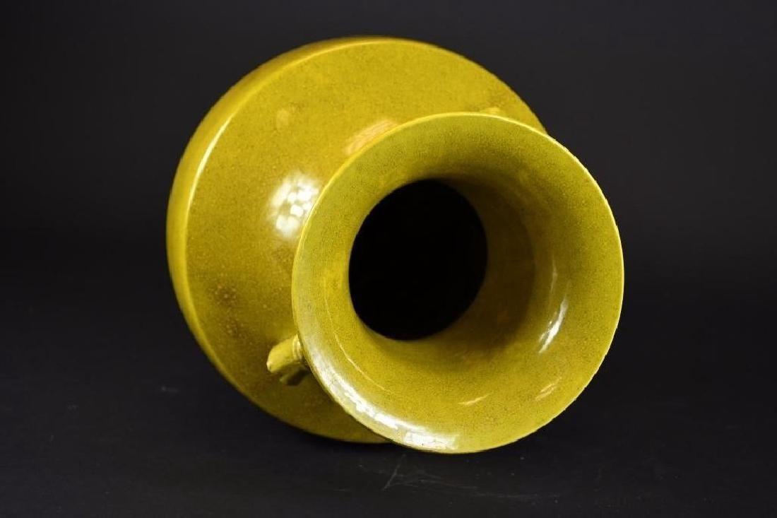 Chinese Yellow Glaze Porcelain Vase - 5