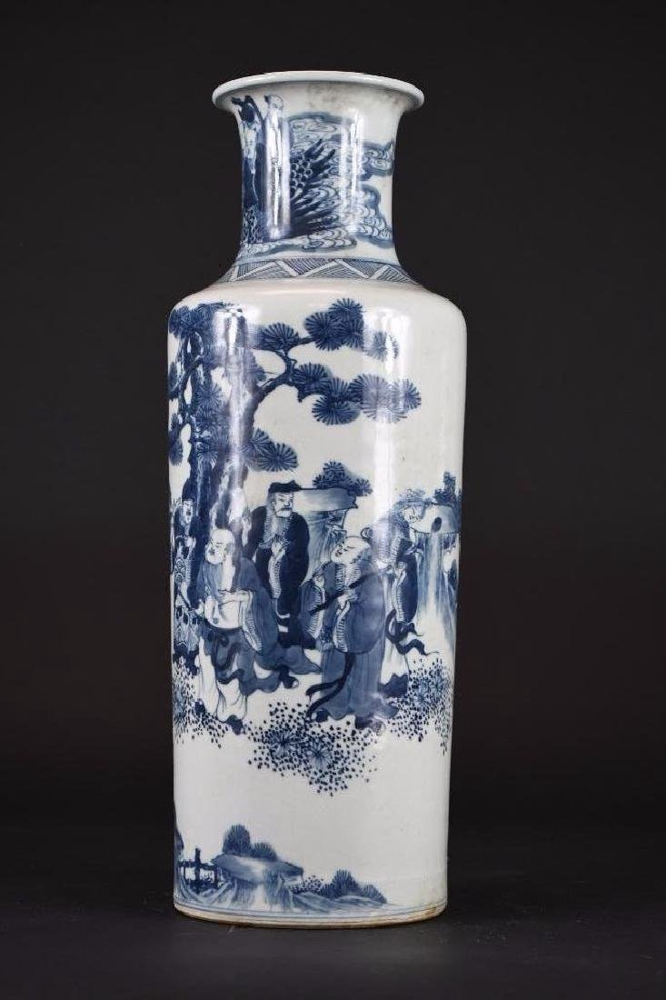 Chinese Blue & White Roleau Vase - 2