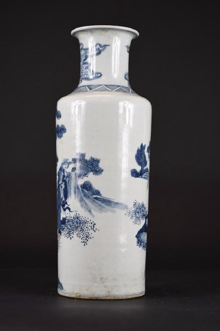 Chinese Blue & White Roleau Vase - 3