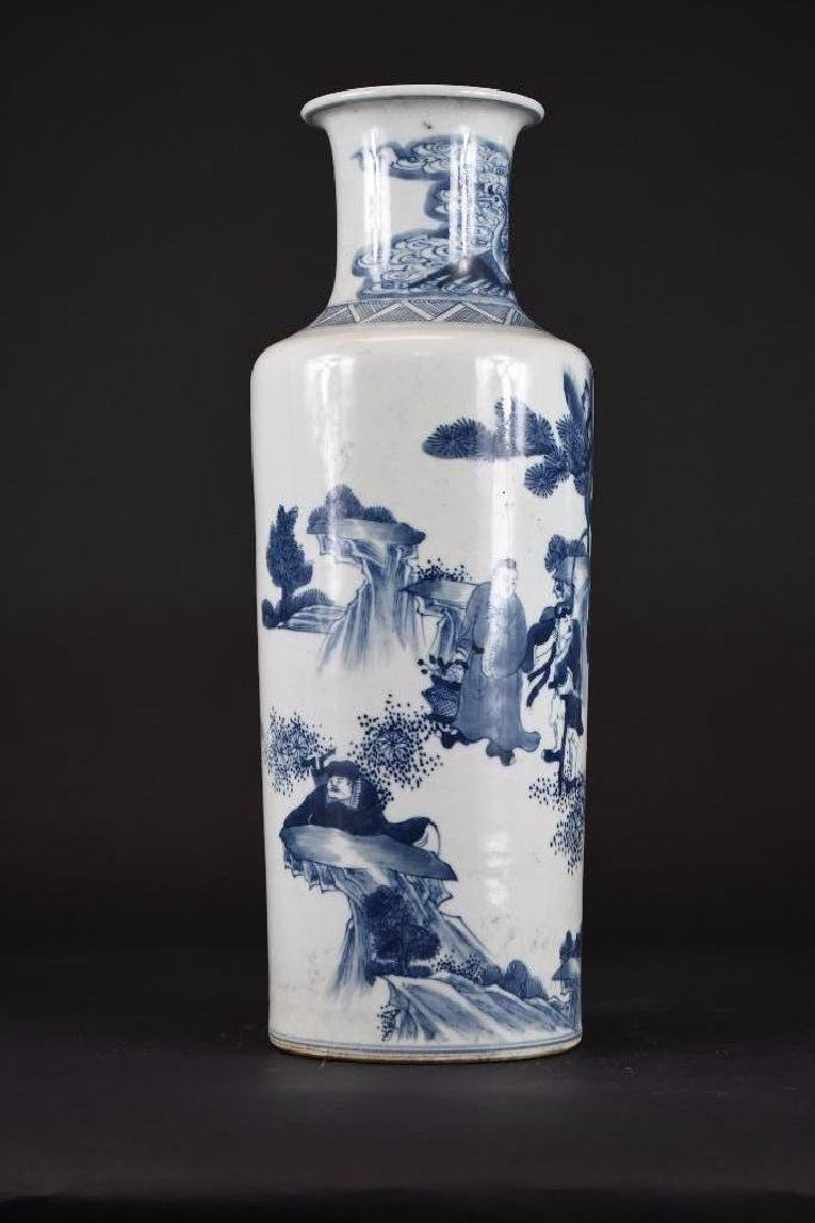Chinese Blue & White Roleau Vase - 4