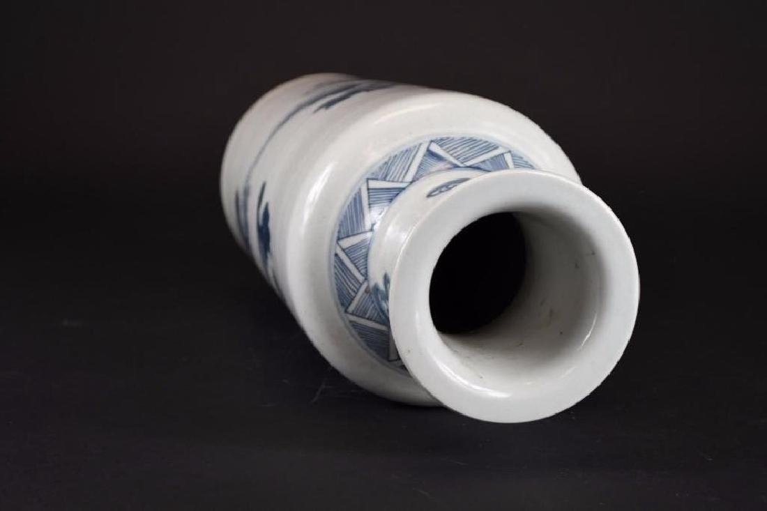 Chinese Blue & White Roleau Vase - 5
