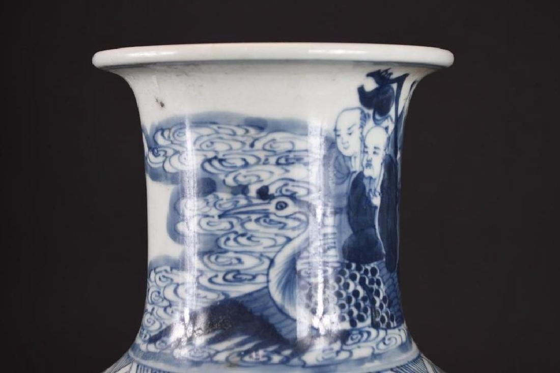 Chinese Blue & White Roleau Vase - 7