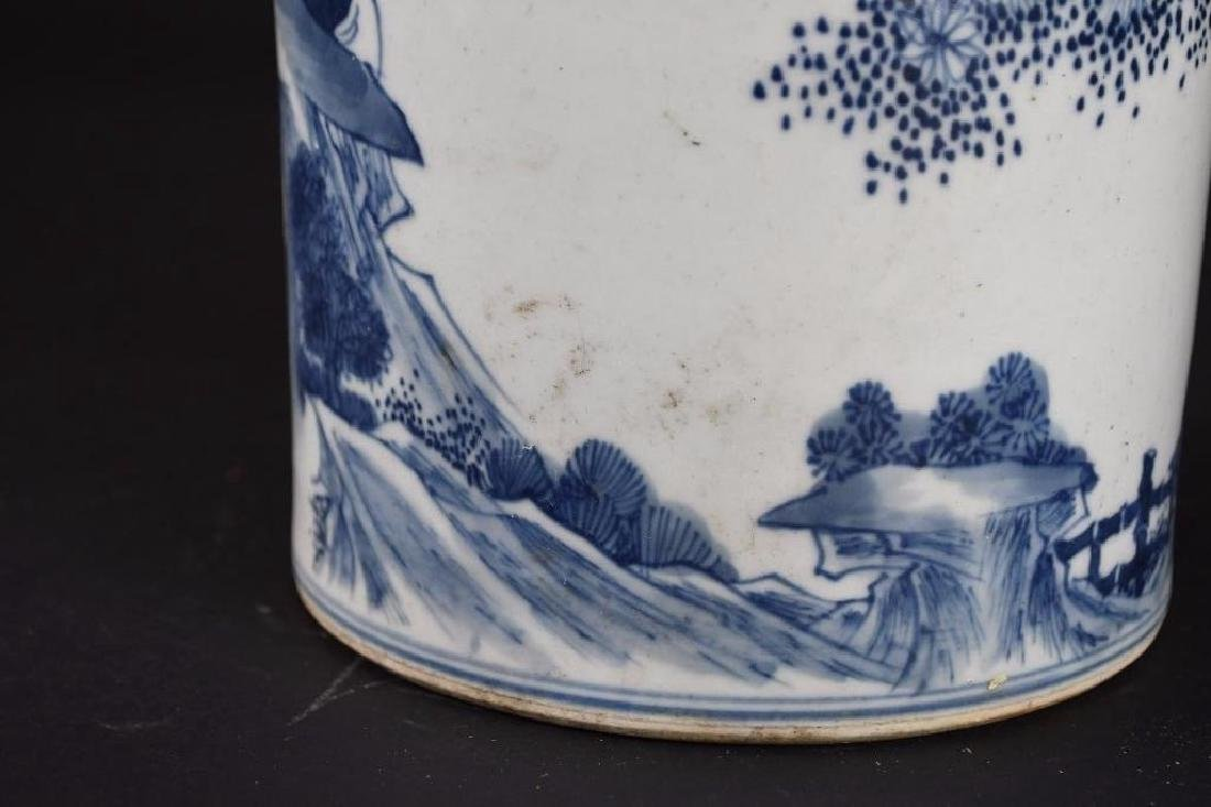Chinese Blue & White Roleau Vase - 9