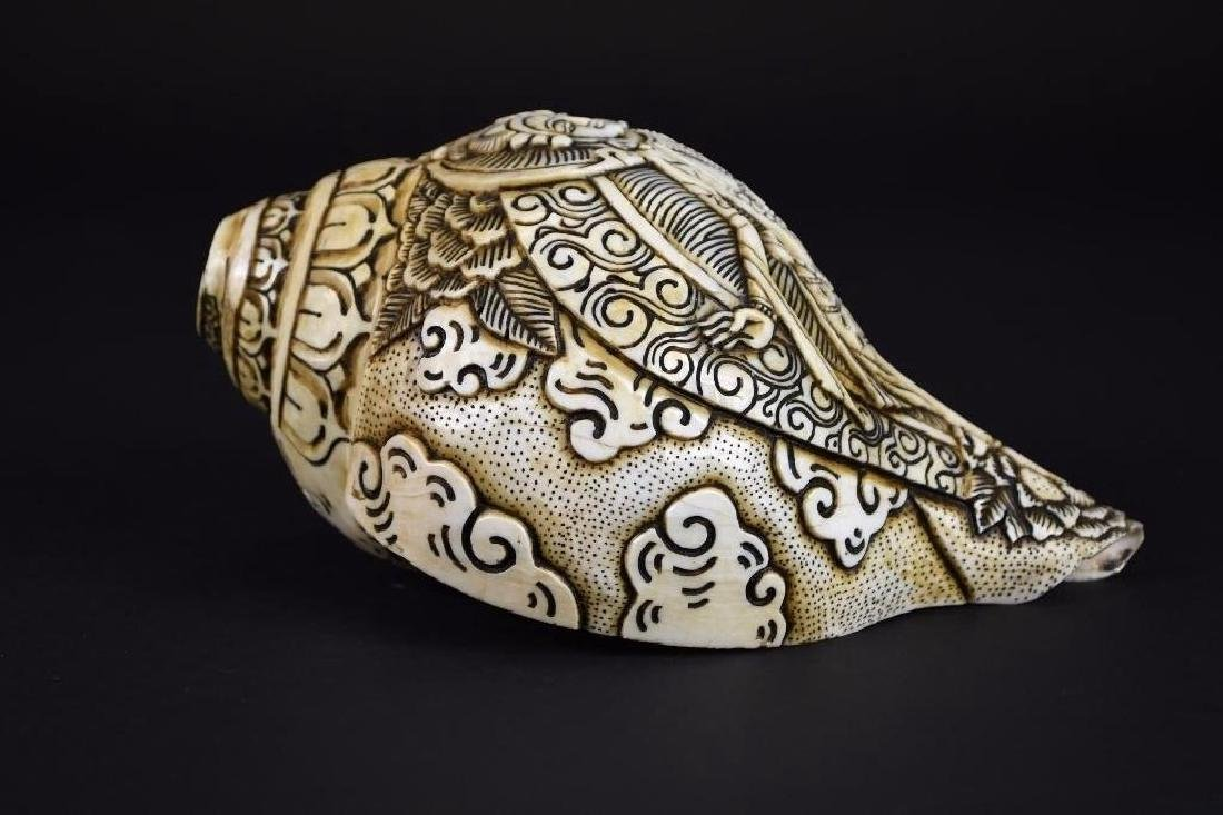 Carved Tibetan Conch Shell - 7
