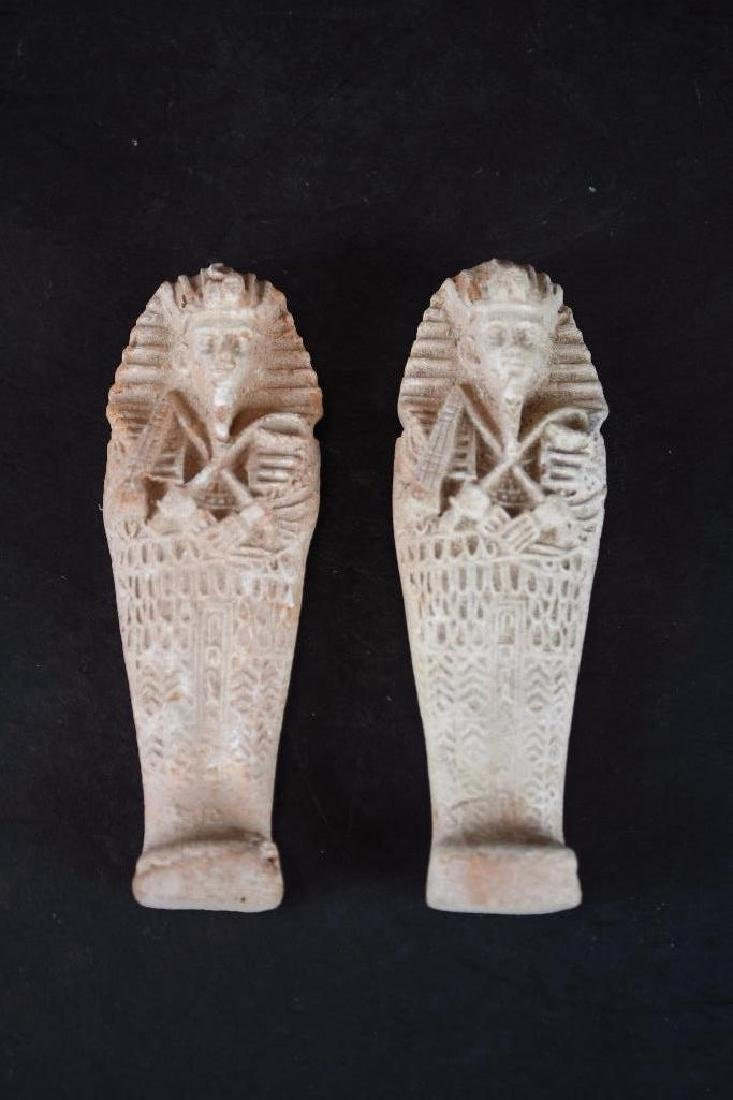 Two Small Ancient Egyptian Faience Statue