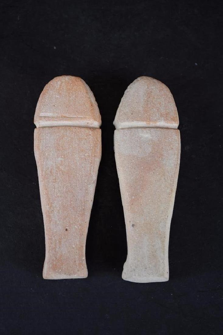 Two Small Ancient Egyptian Faience Statue - 5