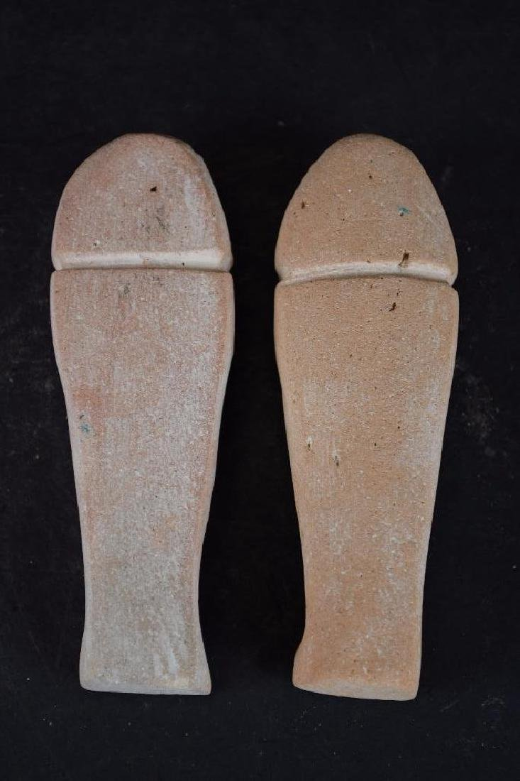 Two Small Ancient Egyptian Faience Statue - 7