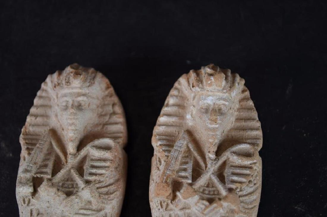 Two Small Ancient Egyptian Faience Statue - 9