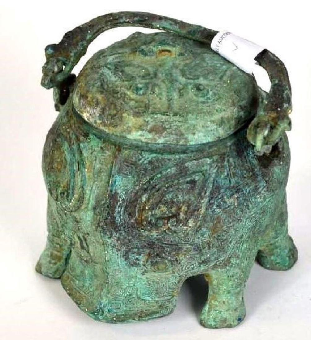 Chinese Bronze Animal Form Lidded Vessel - 3