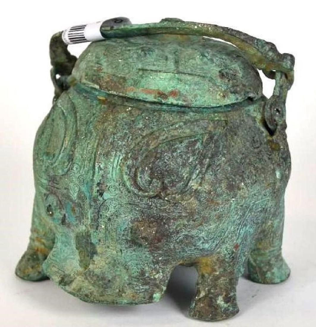Chinese Bronze Animal Form Lidded Vessel - 5