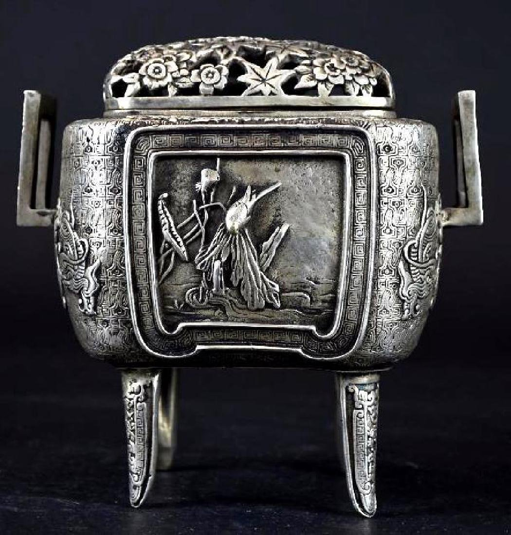 Chinese Silvered Censer With Open Work Lid