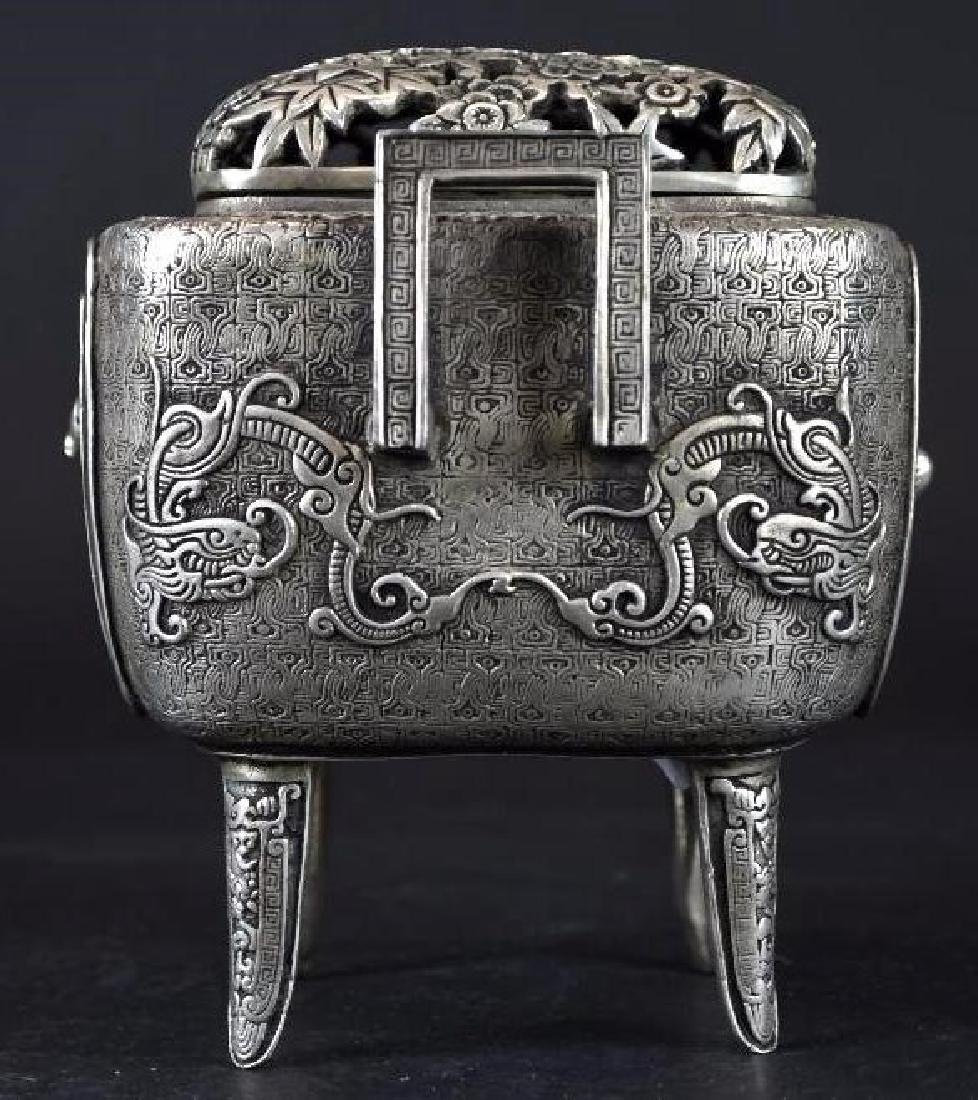 Chinese Silvered Censer With Open Work Lid - 2